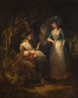 Two Women with a Baby Conversing in a Wood