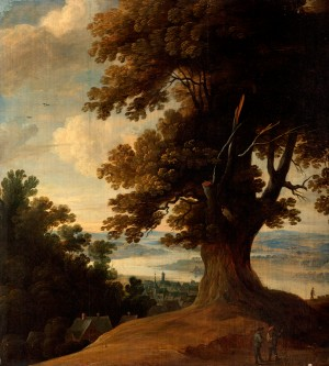Landscape with Large Tree, Figures and a Dog