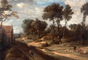 Landscape with Track, Figures and Sheep