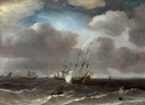 A Dutch Ship Firing a Gun