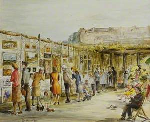 View of Paintings on Show in the Open-Air Exhibition at the Winter Gardens, Weston-super-Mare