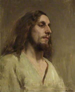 Portrait of a Young Man with a Beard, Long Hair and Dressed in a White Robe