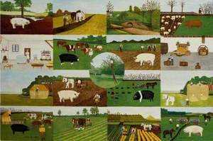 Composite of 17 images: Blake's Farm, Oakhill; Cockmill Farm, Pilton, c.1935