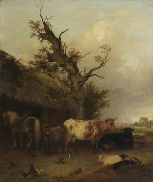 Cattle Shed with Cows and Horses