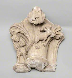 Column Capital Showing a Man Chasing a Fox with a Goose