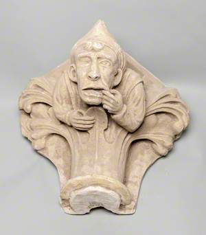 Column Capital Showing a Man Pulling a Face