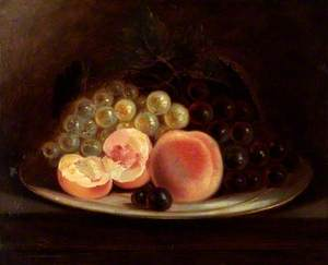 A Plate of Peaches and Grapes