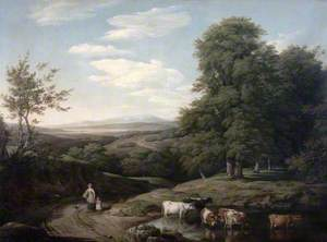 Landscape with Wooded Scene and Cattle