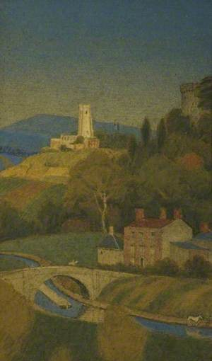 Landscape, Looking Down on a Valley with Distant Church and Canal