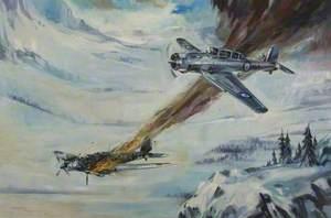 Skua Shooting Down Heinkel, Norway, 1940