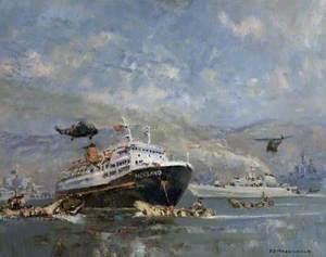 'Norland' and Warships at San Carlos