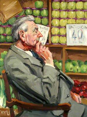 Mr Ron Taylor, Greengrocer, in His Shop at 8 Windsor Street, Chertsey