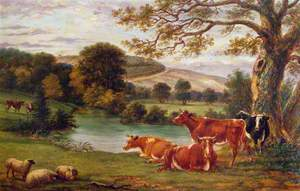 Boxhill, River Mole and Cows, Dorking, Surrey