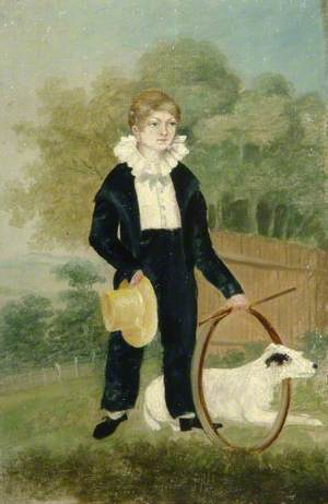 Thomas Huggins, Aged 9, with a Hoop and Dog, Great Grandfather of William Huggins