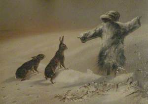 Scarecrow and Two Hares