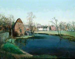 Cobham Mill with Houses on Right Bank of a River in the Distance