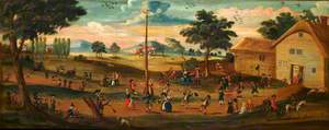 Maypole on Monument Green, with Figures in Eighteenth-Century Costume