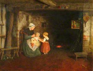 Expectation: Interior of Cottage with Mother and Children