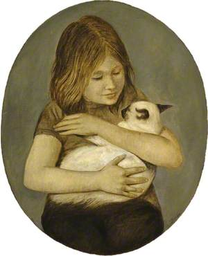 Girl with Siamese Cat