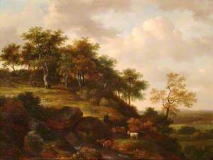 Wooded Landscape with Goat and Figures