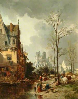 Abbeville, France, with Peasants and Horses in the Foreground