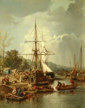 The Quay, Hennebont, France, with Boats and Figures