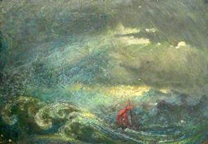 Turbulent Sea and Ship with Red Sails
