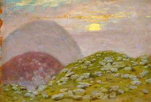 Scottish Landscape, Mountains with Moon