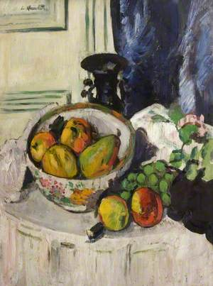 Pears and Fruit, The Blue Curtain