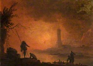 A Lighthouse with Fishermen