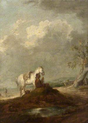A Traveller Seated on a Country Road, Holding a White Horse