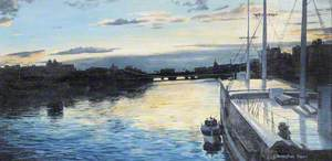 'Carrick' Docked on the River Clyde at Sunset