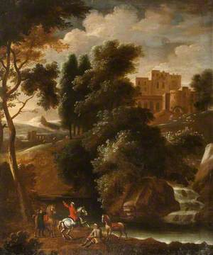 Castle Landscape, Figures on Horseback