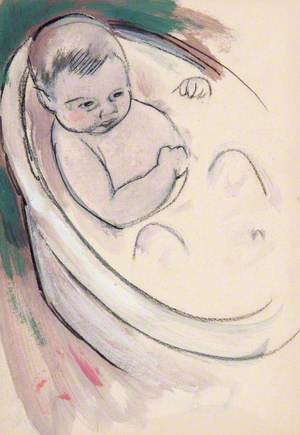Study of a Baby in a Bath