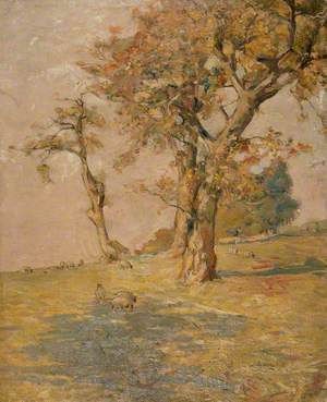 Autumn Trees with Sheep