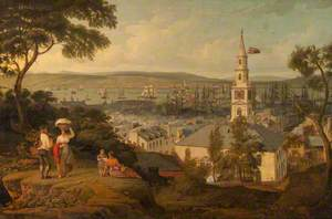 View of the Middle Church and Harbour, Greenock