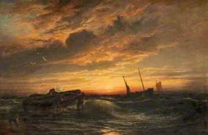 Seascape, Fishermen at Sunset
