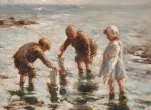 Three Children on Shore