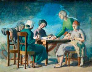 Five Women Working by a Table