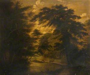 Wooded Scene with Two Figures and a Horse
