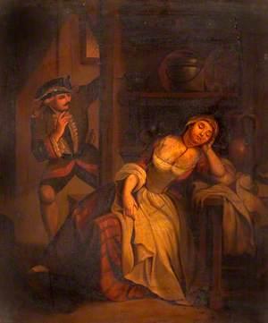 Soldier Disturbing a Sleeping Woman