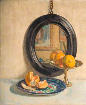Still Life of Oranges in front of a Mirror