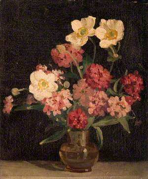 Japanese Anemones and Zinnias in a Glass Vase