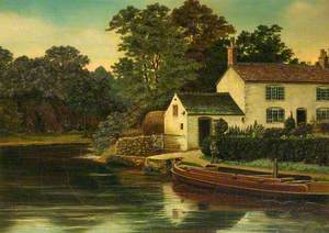 Canal Scene, House and Narrowboat