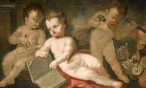 Three Putti with Symbols of Architecture