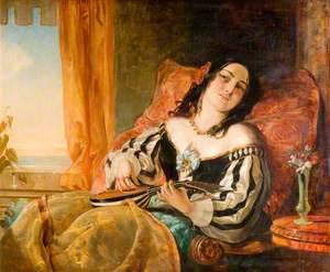 A Lady Playing the Mandolin