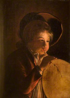 A Boy Blowing a Bladder in Candlelight
