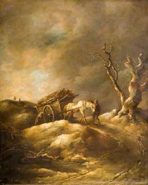 Winter Scene with Horse and Cart