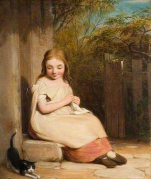 Young Girl with a Kitten