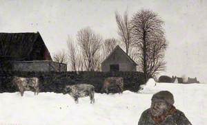 Snowscape with Cows and Figures